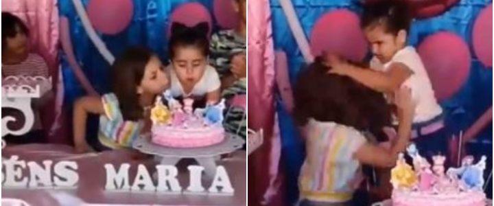 Video viral: Niña mechonea a su hermana por apagar la vela de su cumpleaños