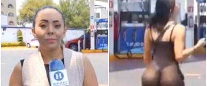 Camarógrafo dejó de grabar a periodista porque se distrajo con el cuerpazo de una mujer