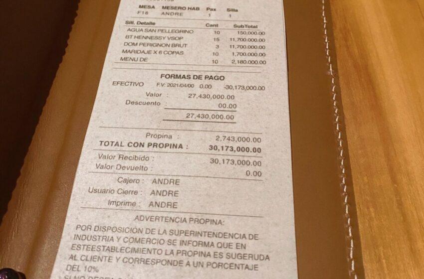 Prestigioso restaurante en Medellín cobró $30 'milloncitos' a unos clientes: «Esto es un abuso»